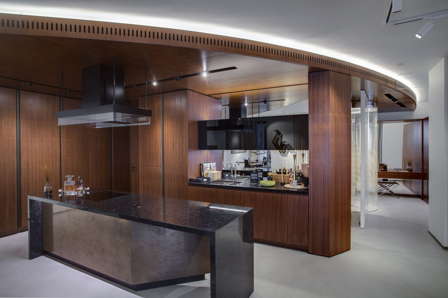 kitchen in Marketing Suite for Canary Wharf Group