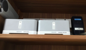 concealed Sonos and Rako equipment in a Kitchen cupboard