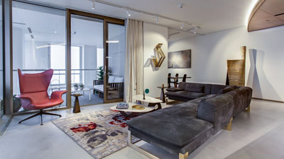 Modern Home with lights automated using Lutron RA2 Select